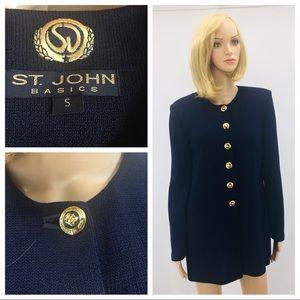 St. John basic knit blue long jacket/coat size S